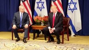 الرئيس الامريكي دونالد ترامب يلتقي برئيس الوزراء بنيامين نتنياهو عشية الجمعية العامة للأمم المتحدة، 18 سبتمبر 2017 (Raphael Ahren/Times of Israel)