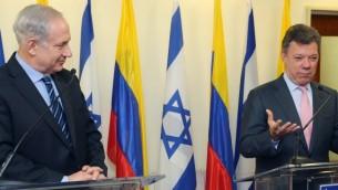 رئيس الوزراء بنيامين نتنياهو مع الرئيس الكولومبي خوان مانويل سانتوس خلال مؤتمر صحفي قبل لقائهما في القدس، 11 يونيو 2013 (Marc Israel Sellem/Pool/Flash90)