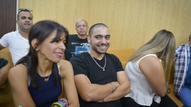 إيلور عزاريا في قاعة المحكمة في قاعدة 'كيرياه' العسكرية في تل أبيب، 8 أغسطس، 2017. (Roy Alima/Flash90)