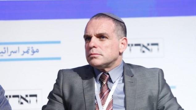 عوديد ريفيفي، المبعوث الأجنبي الرئيسي لمجلس يشا المؤيد للمستوطنات، في مؤتمر هآرتس للسلام في تل أبيب، 12 يونيو / حزيران 2017. (Tomer Appelbaum)