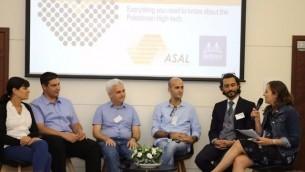ممثلون عن 'ميلانوكس' وروابي و ASAL يناقشون آفال الشراكة بين شركات الهايتك الإسرائيلية والفلسطينية، في تل أبيب، 12 يوليو، 2017. (Courtesy)