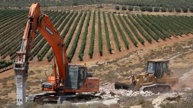 عمال البناء يبدأون بناء مستوطنة عميخاي الجديدة، 20 يونيو 2017 (Yonatan Sindel/Flash90)