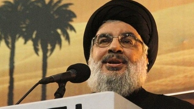 زعيم حزب الله حسن نصر الله يتحدث أمام مؤيديه في بيروت، لبنان، في 3 نوفمبر / تشرين الثاني 2014. (AFP/STR)