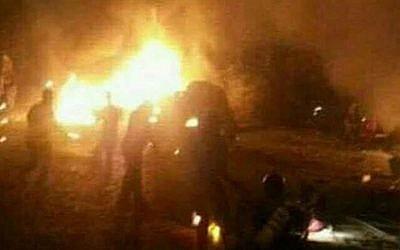 صورة  للتوضيح: مرفق سوري يقال أن الطائرات الإسرائيلية هاجمته في وقت مبكر يوم الخميس 7 سبتمبر 2017. (screen capture: Twitter)
