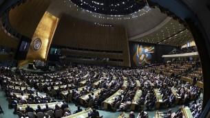الأمين العام للأمم المتحدة أنطونيو غوتيريش يلقي كلمة أمام الدورة ال72 للجمعية العامة للأمم المتحدة في مقر الأمم المتحدة في نيويورك، 9 سبتمبر، 2017. (AFP Photo/Jewel Samad)