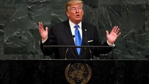الرئيس الأمريكي دونالد ترامب يخطب أمام الجمعية العامة السنوية ال 72 للأمم المتحدة في نيويورك في 19 سبتمبر 2017. (TIMOTHY A. CLARY / AFP)