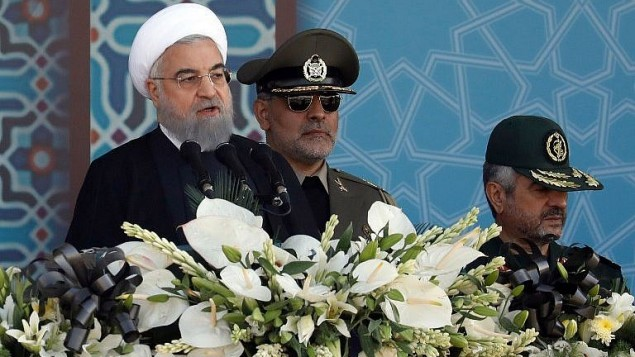 الرئيس الإيراني حسن روحاني يقدم خطاب في طهران، 22 سبتمبر 2017 (AFP/stringer)