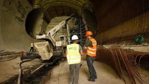 إنشاء محطة قطار القدس لخط سكك حديدية فائقة السرعة في المستقبل إلى تل أبيب في 15 مايو / أيار 2012. (Miriam Alster/ FLASH90/ File)