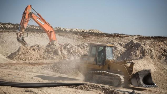 موقع بناء مستوطنة عميخاي الجديدة في الضفة الغربية، 18 اكتوبر 2017 (Hadas Parush/Flash90)