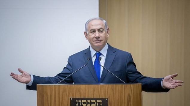 رئيس الوزراء بينيامين نتنياهو يتحدث في الكنيست في القدس، 24 أكتوبر، 2017. (Yonatan Sindel/Flash90)