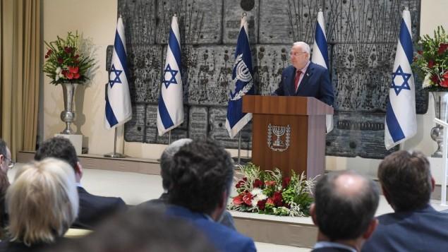 الرئيس رؤوفن ريفلين يخاطب اول قمة اعلام مسيحي في القدس، 18 اكتوبر 2017 (Mark Neiman)