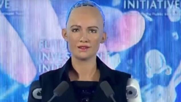 روبوت صوفيا في مؤتمر في الرياض في 25 أكتوبر 2017. (screen capture: YouTube/Arab News)