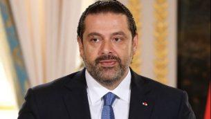 رئيس الوزراء اللبناني سعد الحريري يتحدث في مؤتمر صحفي مشترك مع الرئيس الفرنس إيمانويل ماكرون (لا يظهر في الصورة) في قصر الإليزيه في باريس، 1 سبتمبر، 2017. (AFP Photo/Ludovic Marin)