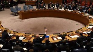 مجلس الأمن التابع للأمم المتحدة يصوت لتوسيع التحقيقات لتحديد المسؤول عن الهجمات بالأسلحة الكيميائية في سوريا في الأمم المتحدة، 24 أكتوبر، 2017. (AFP PHOTO / TIMOTHY A. CLARY)