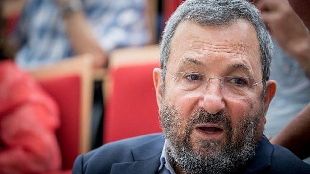 رئيس الوزراء السابق ايهود باراك يحضر مؤتمرا بمناسبة الذكرى الخمسين لقيام حرب الأيام الستة في القدس في الخامس من يونيو عام 2017. (Yonatan Sindel/Flash90)
