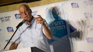 وزير الزراعة أوري أريئيل في مؤتمر لحزب 'الاتحاد القومي' في القدس، 12 سبتمبر، 2017. (Yonatan Sindel/Flash90)
