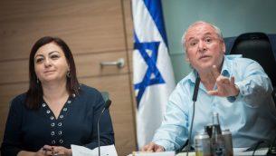 عضو الكنيست من حزب الليكود دافيد امسلم، رئيس لجنة الشؤون الداخلية، يقود جلسة للجنة في الكنيست، 8 نوفمبر 2017 (Yonatan Sindel/Flash90)
