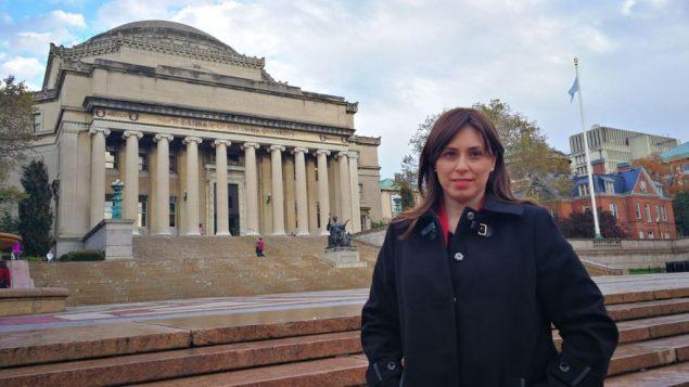 تسيبي حطفلي في حرم جامعة كلومبيا في نيويورك، 2 نوفمبر 2017 (Courtesy)