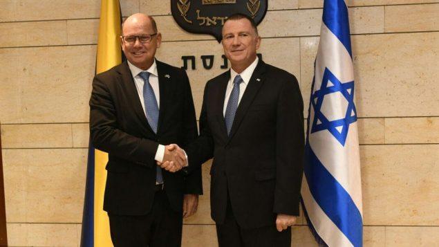 رئيس البرلمان السويدي اوربان الين ورئيس الكنيست الإسرائيلي يولي ادلشتين في الكنيست، 15 نوفمبر 2017 (Jorge Novominsky)