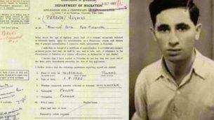 طلب الجنسية لسزيمل بيرسكي البالغ من العمر 20 عاما، الذي أصبح في وقت لاحق رجل الدولة الإسرائيلي شمعون بيريس، في الانتداب البريطاني لفلسطين، تم ختمه في تشرين الأول / أكتوبر 1943. (Israel State Archives)