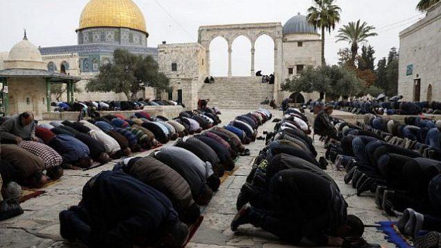 المصلون المسلمون يؤدون صلاة الجمعة بالقرب من ضريح قبة الصخرة في المسجد الاقصى في القدس القديمة، 22 كانون الاول / ديسمبر 2017. (AFP Photo/Ahmad Gharabli)