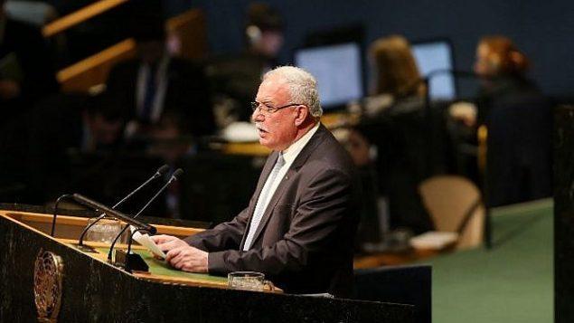 وزير الخارجية الفلسطيني رياض المالكي، يتحدث أمام قاعة الجمعية العامة للأمم المتحدة، 21 ديسمبر، 2017، في مدينة نيويورك. (Spencer Platt/Getty Images/AFP)