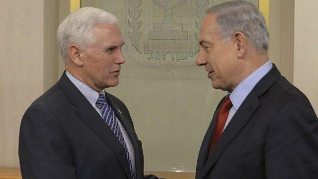 رئيس الوزراء بنيامين نتنياهو يلتقي بحاكم ولاية انداينا مايك بنس في القدس، 29 ديسمبر 2014 (Amos Ben Gershom/GPO)