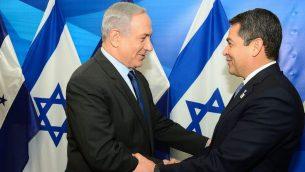 رئيس الوزراء بنيامين نتنياهو يلتقي برئيس هندوراس خوان اورلاندو هرنانديز في القدس، 29 اكتوبر 2015 (Kobi Gideon/GPO/Flash90)