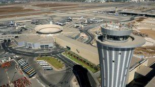 برج المراقبة في مطار بن غوريون الدولي. (Moshe Shai/FLASH90)