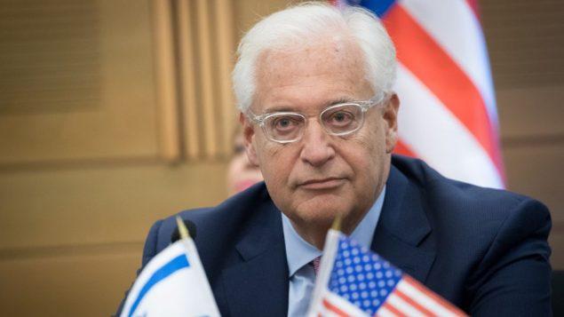 السفير الامريكي الى اسرائيل دافيد فريدمان في الكنيست، 25 يوليو 2017 (Yonatan Sindel/Flash90)