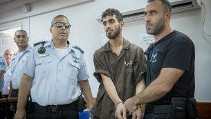 عمر العبد في قاعة محكمة عوفر العسكرية في مدينة رام الله في الضفة الغربية، 17 أغسطس، 2017. (Yonatan Sindel/Flash90)