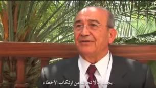 رجل الاعمال الفلسطيني صبيح المصري خلال مقابلة عام 2010 (screen cpature: YouTube via Wambda)