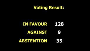 الجمعية العامة للأمم المتحدة تعرض نتائج التصويت على مشروع قرار  يعارض الاعتراف الأمريكي بالقدس عاصمة لإسرائيل، 21 ديسمبر، 2017. (UN screenshot)