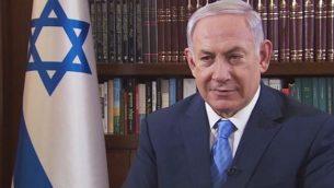 رئيس الوزراء بنيامين نتنياهو يتحدث إلى سي إن إن في 22 ديسمبر 2017. (YouTube screenshot)