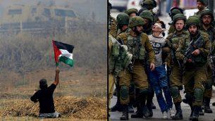 يسار: المتظاهر الفلسطيني المقعد إبراهيم أبو ثريا يلوح بالعلم الفلسطيني خلال مواجهات مع جنود إسرائيليين بالقرب من السياج الحدودي شرقي مدينة غزة، 19 مايو، 2017. (AFP PHOTO / MOHAMMED ABED/File) يمين: فوزي الجنيدي البالغ 16 عاما يعتقله جنود اسرائيليون خلال مظاهرة في الخليل، 7 ديسمبر 2017 (Wisam Hashlamoun/Flash90)