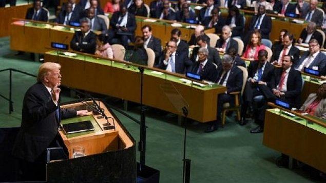 الرئيس الأمريكي دونالد ترامب يلقي خطابا أمام الرئيس اأمام الجمعية العامة السنوية ال 72 للأمم المتحدة في نيويورك في 19 سبتمبر 2017. (AFP PHOTO / DON EMMERT)