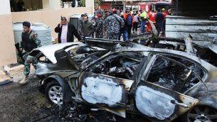 قوى الأمن اللبناية تفرض طوقا أمنيا في منطقة وقع فيها انفجار سيارة في مدينة صيدا الساحلية جنوب لبنان، 14 يناير، 2018. (Mahmoud Zayyat / AFP)