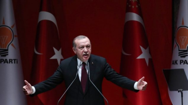 الرئيس الترمي رجب طيب اردوغان خلال خطاب في انقرة، 26 يناير 2018 (ADEM ALTAN / AFP)