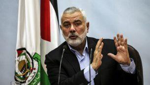 قائد حماس اسماعيل عنية في غزة، 23 يناير 2018 (Mahmud Hams/AFP)