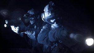 قوات الامن الإسرائيلية خلال مداهمات في جنين، الضفة الغربية، للبحث عن الفلسطينيين المسؤولين عن قتل الحاخام رزئيل شيفاح، 18 يناير 2018 (Israel Police)