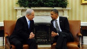 بينيامين نتنياهو وباراك أوباما في لقاء جمعهما في البيت الأبيض في عام 2011. (photo credit: Avi Ohayon/Government Press Office/Flash90)
