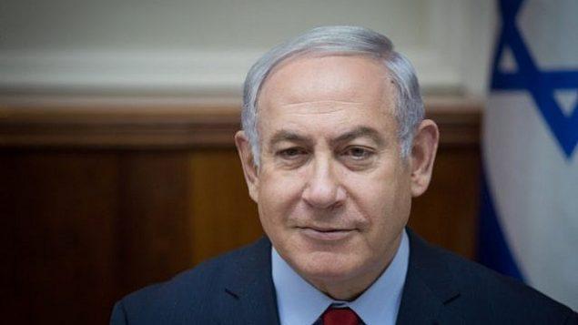 رئيس الوزراء بنيامين نتنياهو يقود اجتماع الحكومة الأسبوعي في مكتب رئيس الوزراء في القدس، في 31 ديسمبر 2017. (Hadas Parush/Flash90)