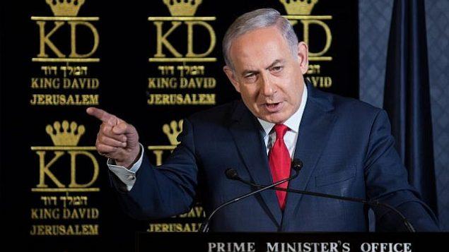 رئيس الوزراء بينيامين نتنياهو يتحدث خلال غداء مع سفراء الناتو لدى إسرائيل في فندق 'الملك داوود' في القدس، 9 يناير، 2018.  (Hadas Parushl/Flash90)