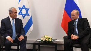 رئيس الوزراء بنيامين نتنياهو يلتقي بالرئيس الروسي فلاديمير بوتين في موسكو، 29 يناير 2018 (Kobi Gideon/GPO)