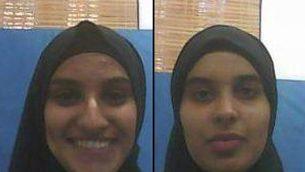 رحمة الأسد وتسنيم الأسد، فتاتان بدويتان من مواطني إسرائيل (19 عاما) يُشتبه بتخطيطهما لتنفيذ اعتداءات ضد يهود إسرائيليين نيابة عن تنظيم 'الدولة الإسلامية' تم تقديم لائحتي اتهام ضدهما في 8 يناير، 2018. (Shin Bet)