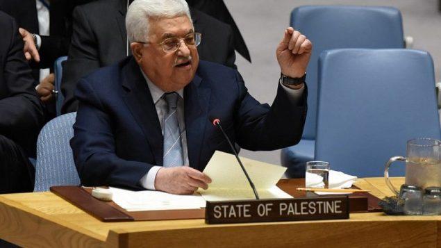 محمود عباس يلقي كلمة أمام مجلس الأمن التابع للأمم المتحدة في 20 فبراير، 2018.  (AFP Photo/Timothy A. Clary)