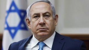 رئيس الوزراء بينيامين نتنياهو يترأس جلسة الحكومة في مكتب رئيس الوزراء في القدس، 11 فبراير، 2018.(AFP PHOTO / POOL / RONEN ZVULUN)
