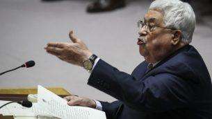 رئيس السلطة الفلسطينية محمود عباس يتحدث في مداخلة في مجلس الأمن التابع للأمم المتحدة في جلسة تتعلق بشؤون الشرق الأوسط، في مقر الأمم المتحدة في نيويورك، 20 فبراير، 2018. (Drew Angerer/Getty Images/AFP)