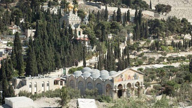 صورة للتوضيح: صورة لبستان جثسيماني وكنيسة مريم المجدلية في القدس. (Sebi Berens/Flash90)