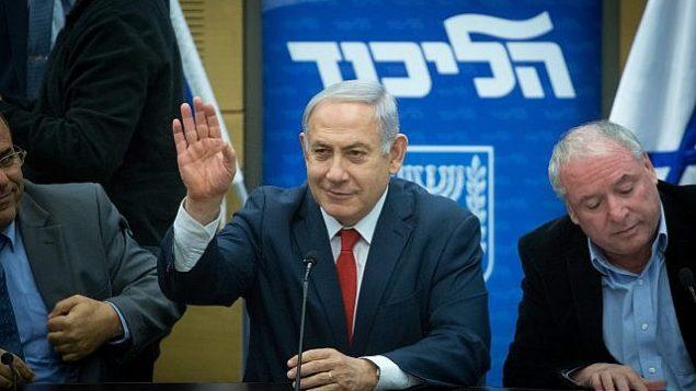 رئيس الوزراء بينيامين نتنياهو يترأس جلسة حزب الليكود في الكنيست، 12 فبراير، 2018. (Miriam Alster/Flash90)